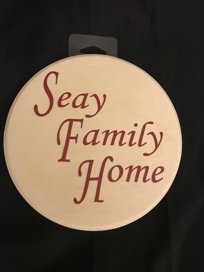 """PERSONALIZED FAMILY NAME WALL WOODEN CIRCULAR PLAQUE 7"""" X 17.78cm"""