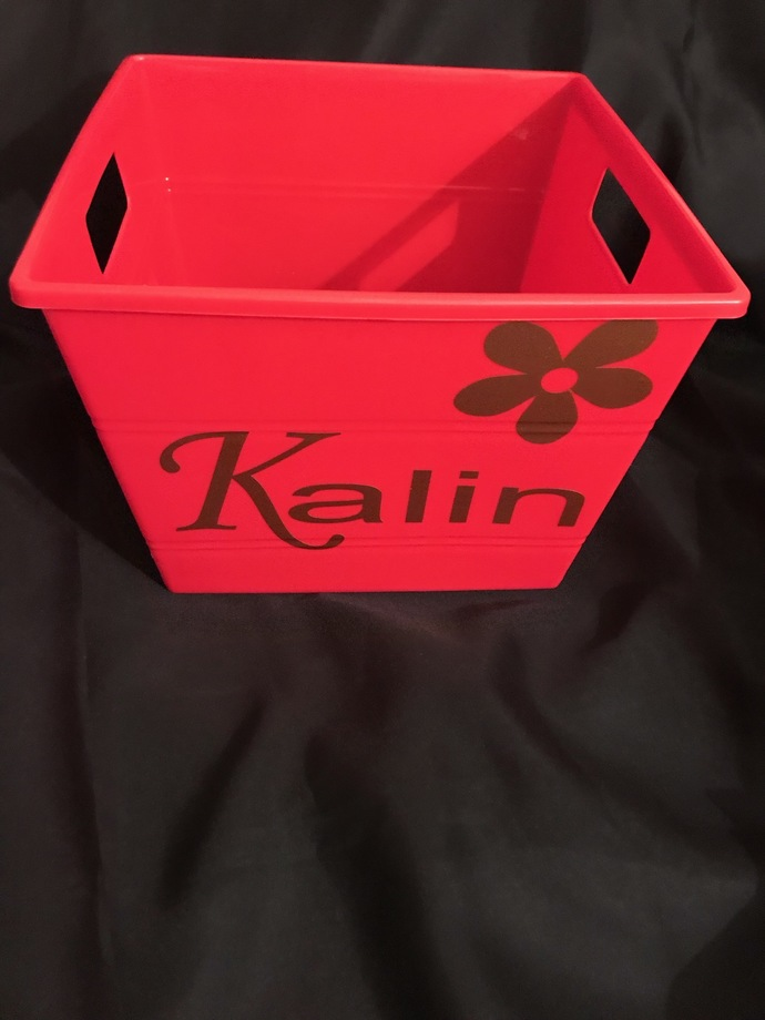 "CHILDREN'S PERSONALIZED TOY OR ACCESSORY BIN WITH HANDLES   10""X10""X7"""