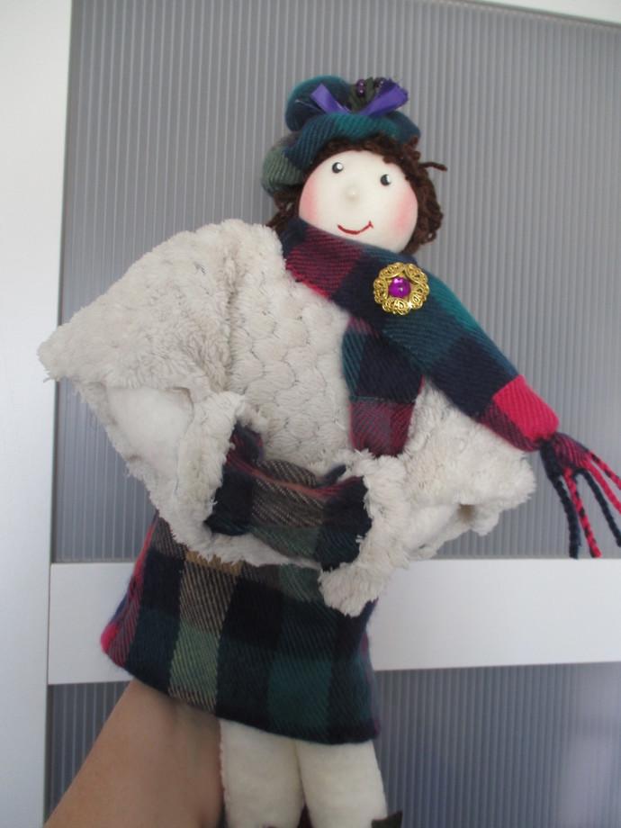Handmade Scottish Tartan Fabric Doll (Rachel) - 16 inches Tall