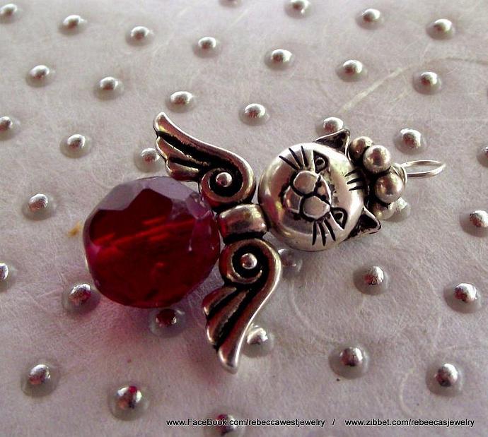 Kitty Cat Angel  Zipperpull / Charm / Pendant