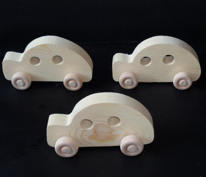 Pkg of 3 Handcrafted Wood Toy Cars  (Bug) 289BH-U-3 unfinished  or finished