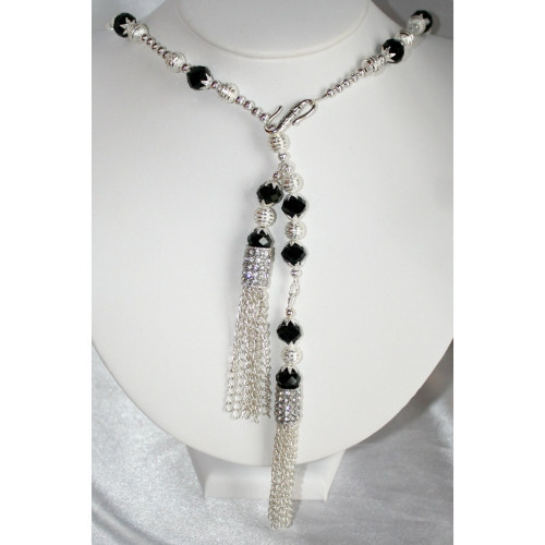 Elegant Silver and Black Crystal Bead Rhinestone Lariat Style Necklace, Crystal