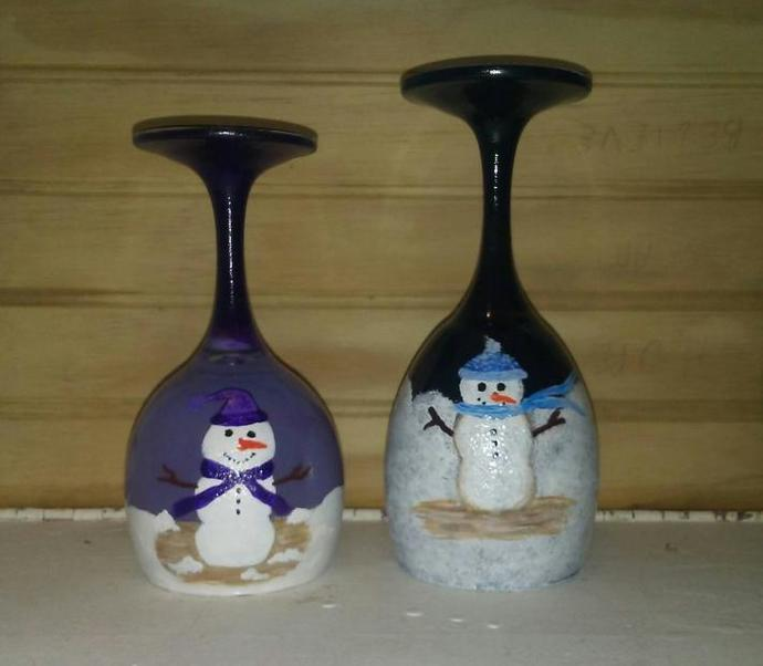 Winter Snowman Hand Painted Wine Glass Candle Holder