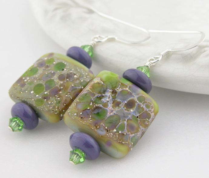 Spring Fling Earrings - artisan lampwork, sterling silver, purple green brown