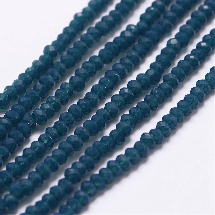 2.5 mm x 1.5 mm Prussian Blue Faceted Abacus Rondelle Beads 50 or 100 pcs Opaque