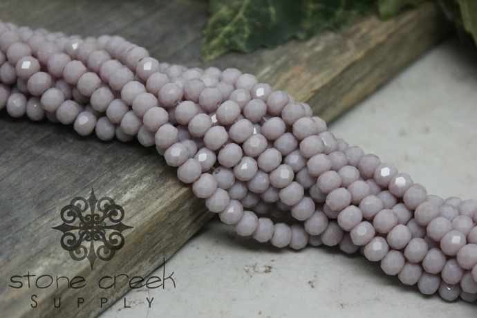 6x4mm Thistle Faceted Abacus Rondelle Beads - 50 or 100 pcs - Opaque Crystal