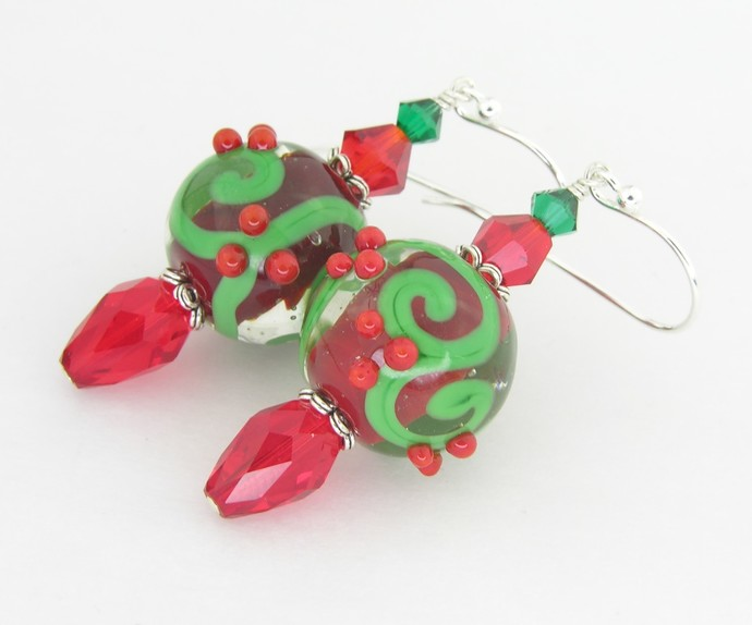 Christmas Swirls and Dots Earrings - artisan lampwork, sterling silver, red