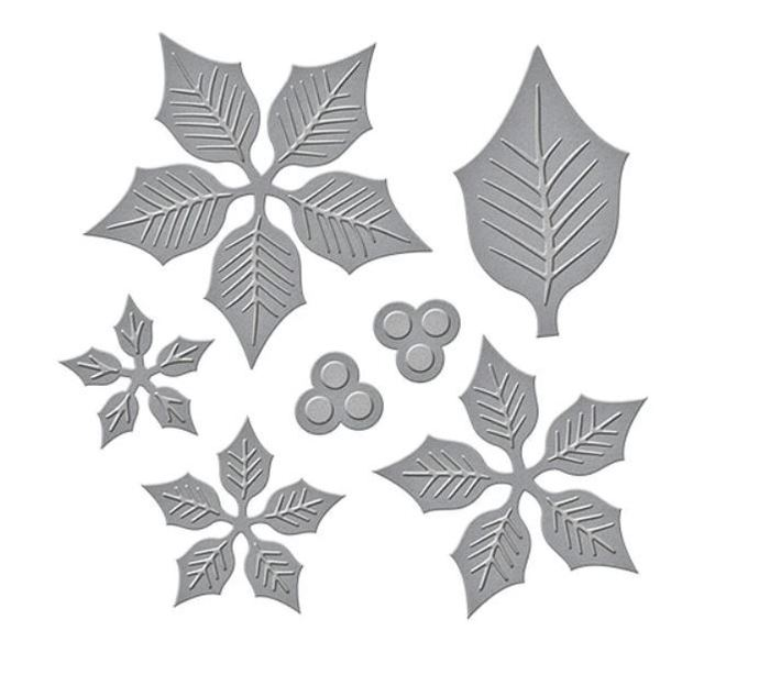 Layered Poinsettia Die Set with Snow Flakes and Leaf - 7 Die Set