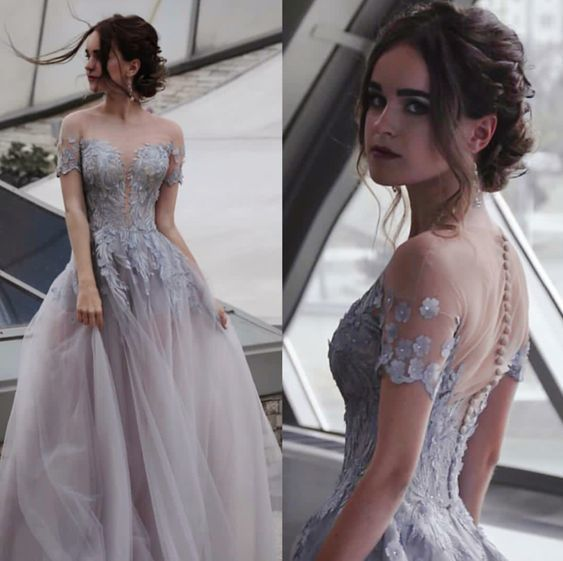 High Neck Gray Lace Prom Dress, A Line Tulle Prom Party Gowns , Cheap Formal