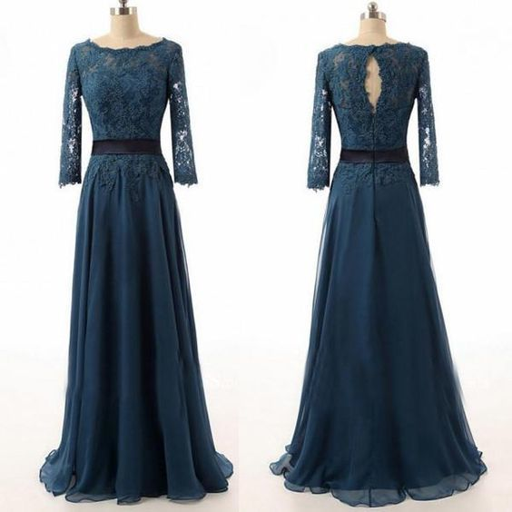 Teal Lace Prom Dress