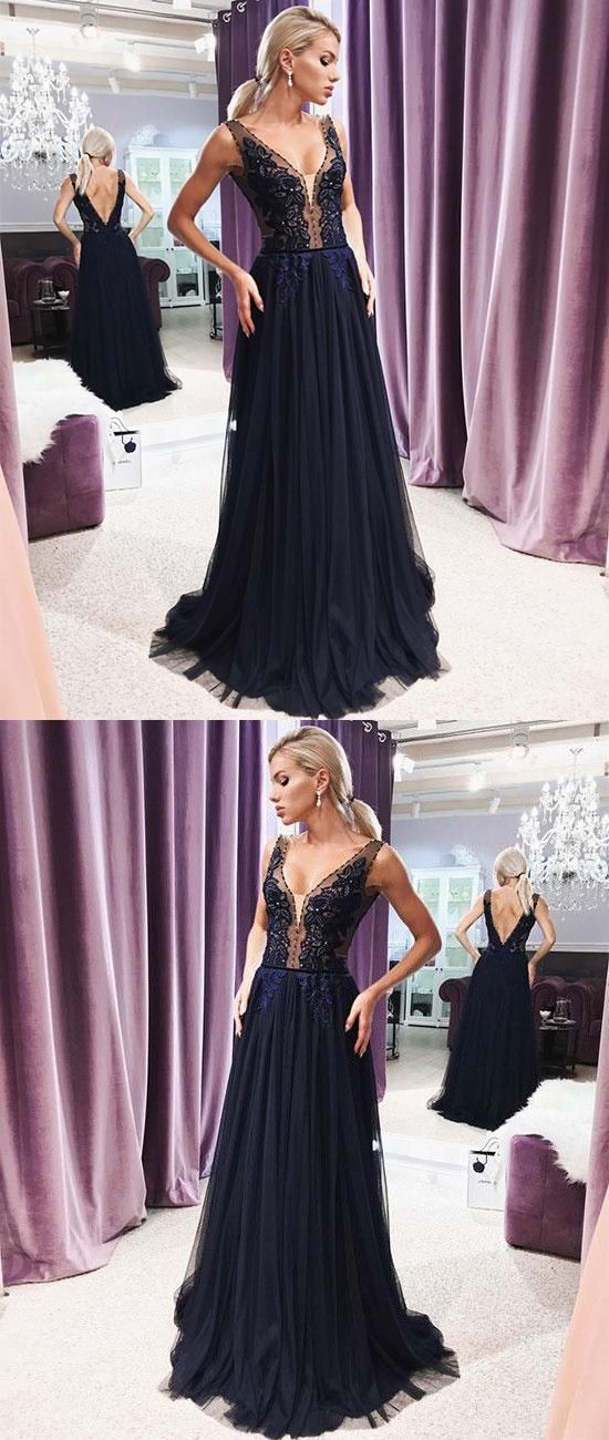 A-Line V Neck Open Back Navy Blue Tulle Long Prom Dresses with Appliques