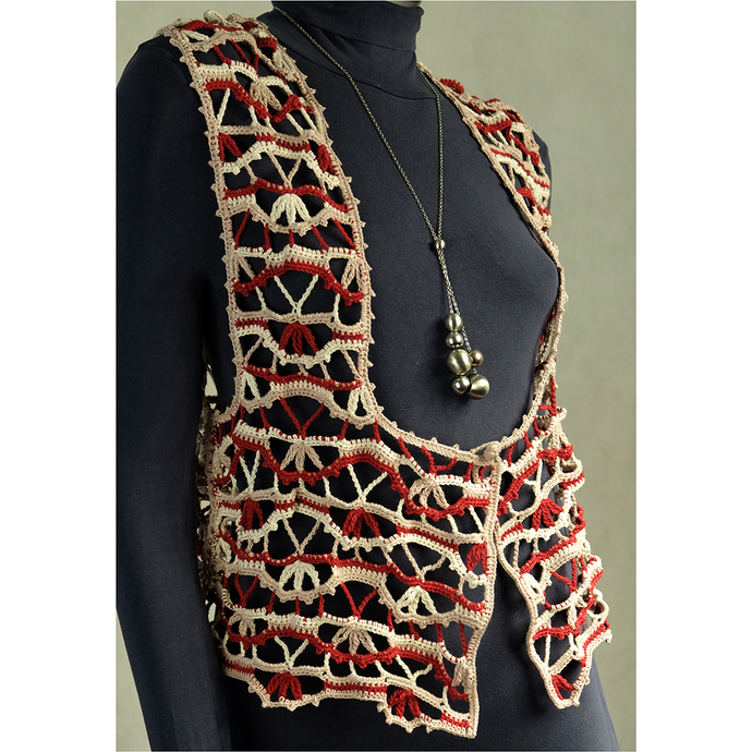Lace colorful crochet vest women Knitted waistcoat with button Good gift Crochet