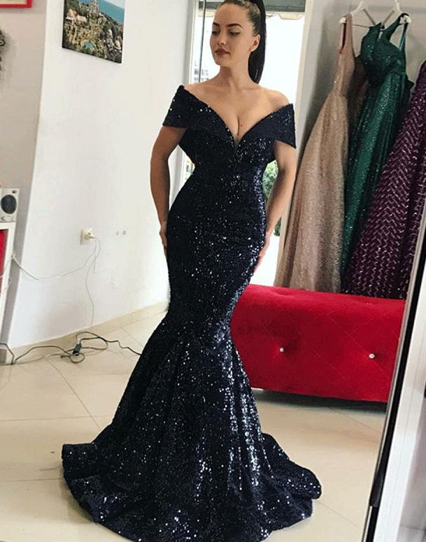 Mermaid Off The Shoulder Sweep Train Black Sequin By Dress On Zibbet