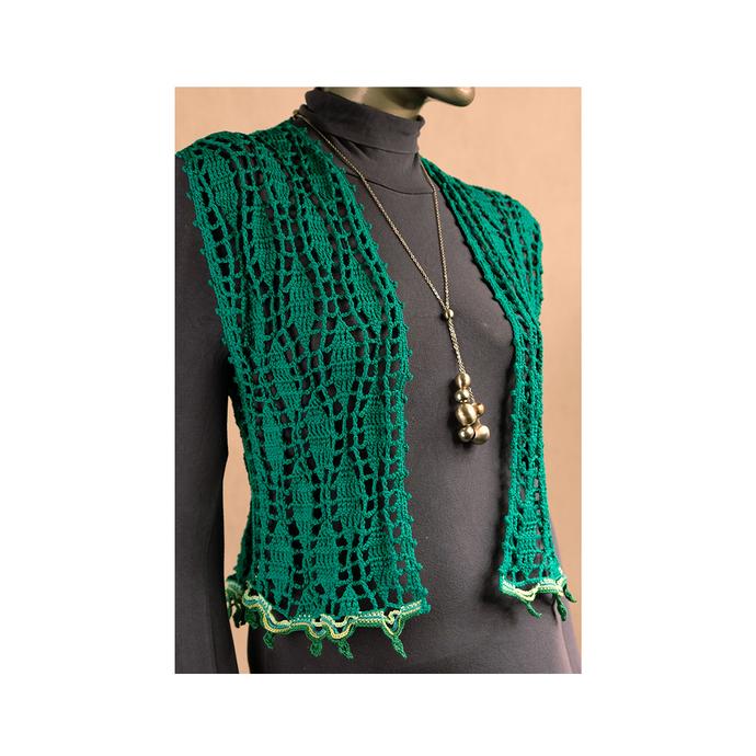 Green short Crochet Vest Women sleeveless jacket Mandala Boho womens waistcoat