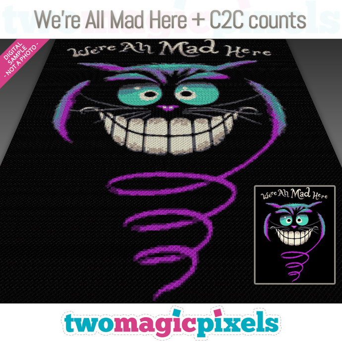 [C2C] We're All Mad Here crochet graph + row-by-row counts; instant PDF download