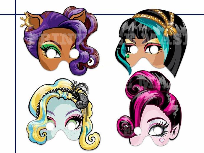 4 Monster High Girls Printable Masks, monster masks, girls masks, vampire mask,