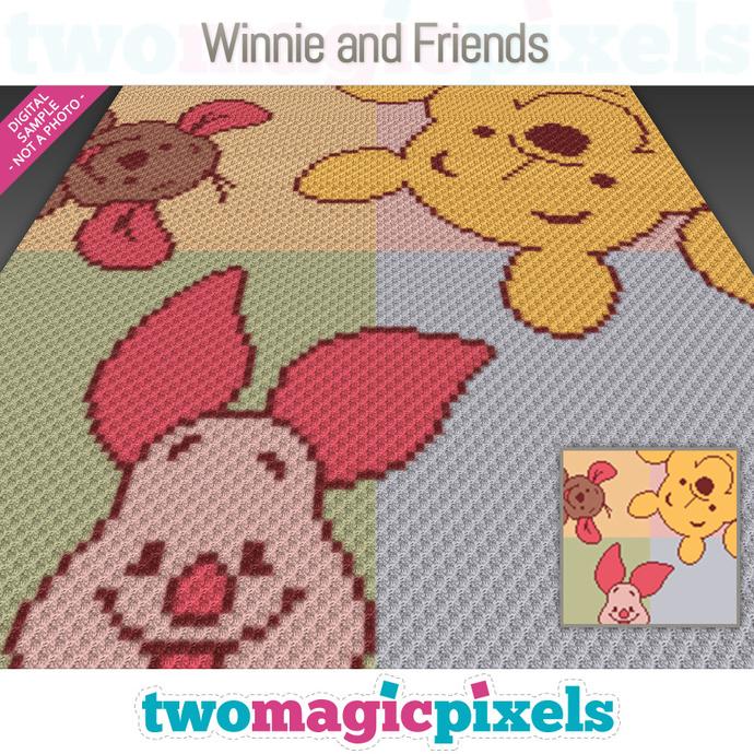 Winnie and Friends crochet graph (C2C, Mini C2C, SC, HDC, DC, TSS), cross