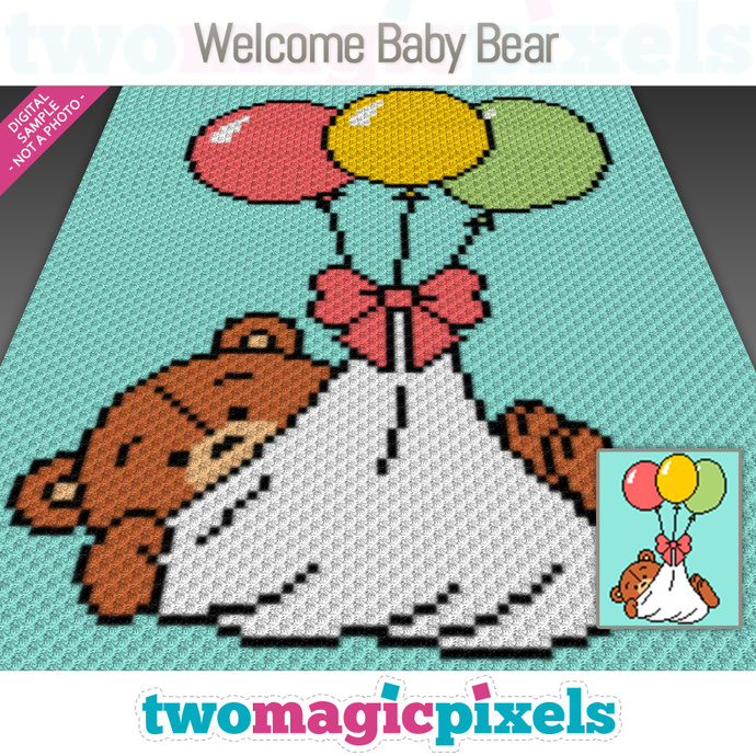 Welcome Baby Bear crochet graph (C2C, Mini C2C, SC, HDC, DC, TSS), cross stitch,