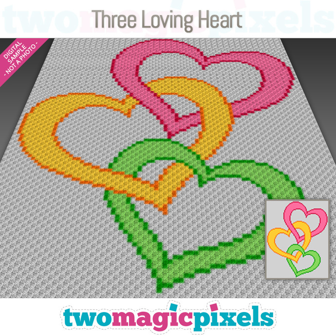 Three Loving Hearts crochet graph (C2C, Mini C2C, SC, HDC, DC, TSS), cross