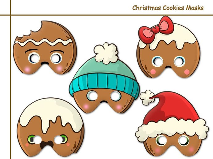 Digital Christmas Cookies printable masks, Birthday Party, instant download,