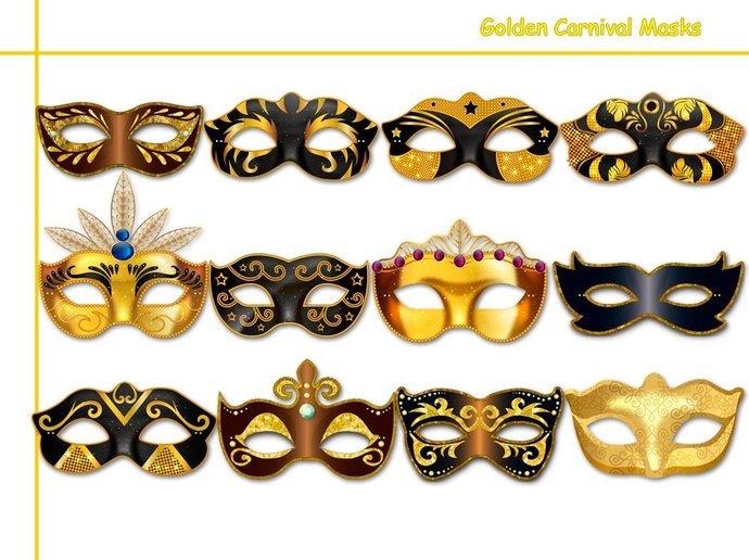 Golden Carnival Printable Masks Collection, masquerade, party, birthday, mask,