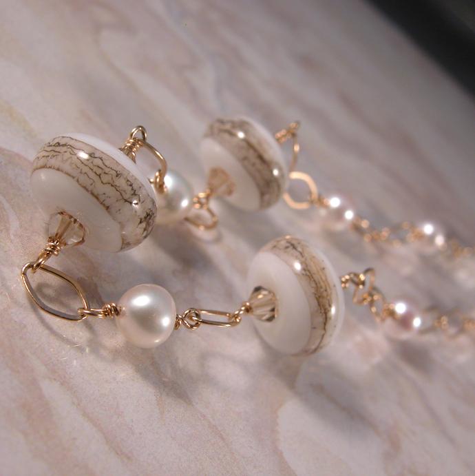 Golden Pearls Necklace - gold white beige freshwater pearls swarovski crystals