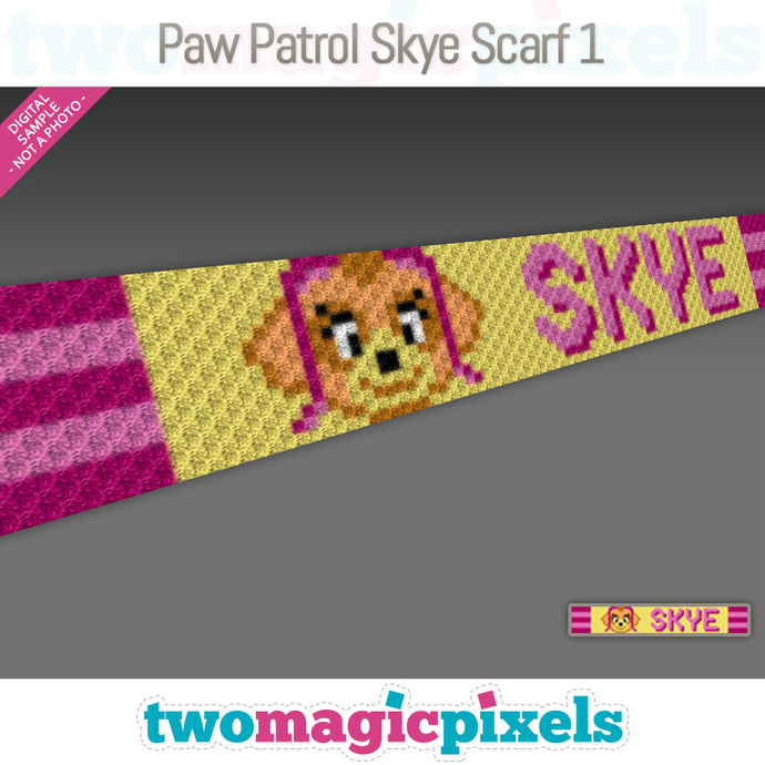 [C2C] Paw Patrol Skye Scarf 1; crochet graph + row-by-row counts; instant PDF
