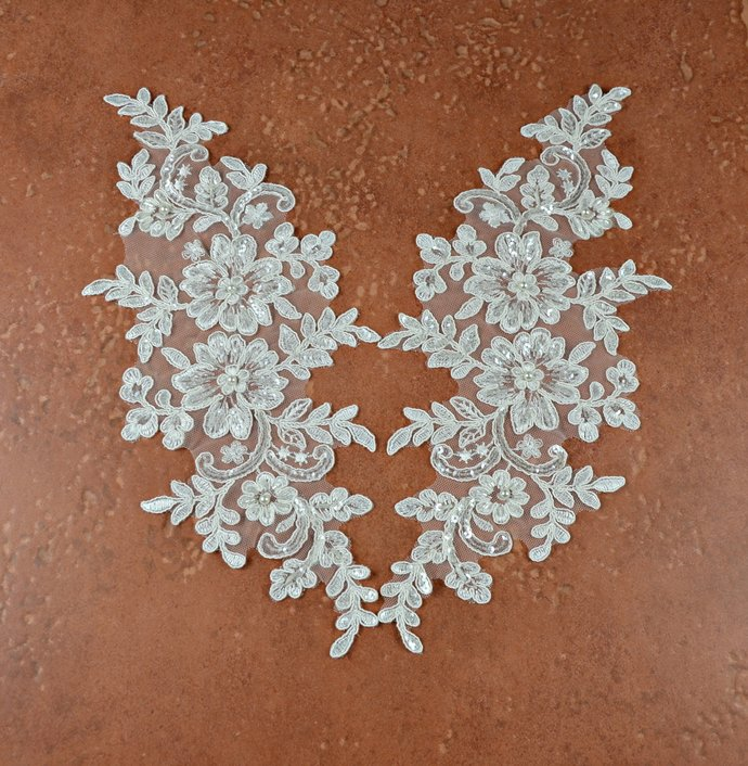 Beaded Ivory Lace Applique Pair, Embroidery Sequin Lace Appliques, AP019