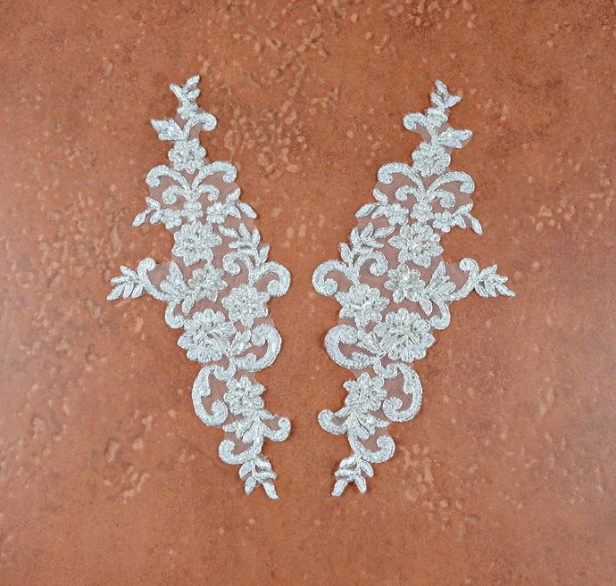 Off-White Sequin Beaded Lace Applique Pair, Embroidered Corded Lace Appliques,
