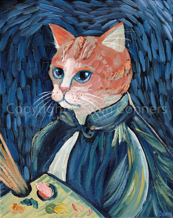 Ginger Cat Van Gogh Portrait Cat Folk Art Print 8x10, 11x14