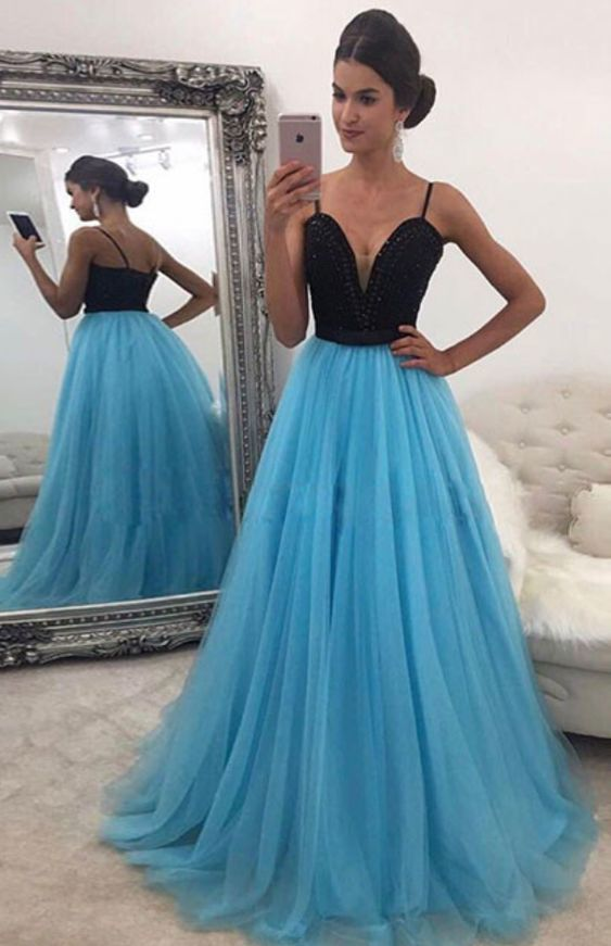 10964413da88 Spaghetti Straps Black Top Light Blue Evening Dresses, Prom Dresses, Sexy  Prom