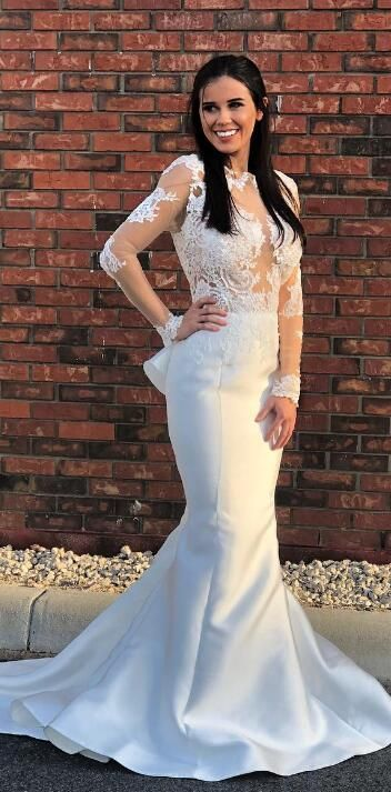23044abb53a0b Gorgeous white long sleeves mermaid long prom dress, pretty mermaid prom  dress,