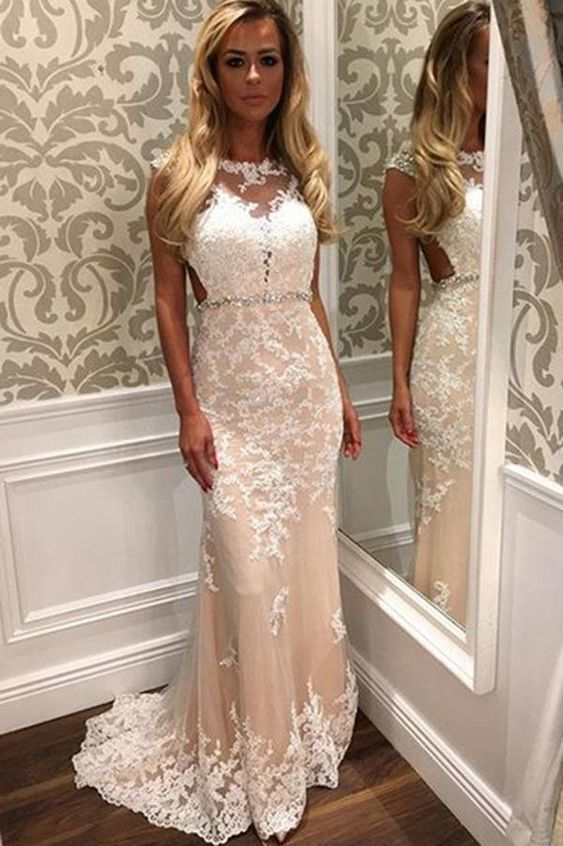 New Sheath Column Lace Backless Tulle Prom Dress With Appliques