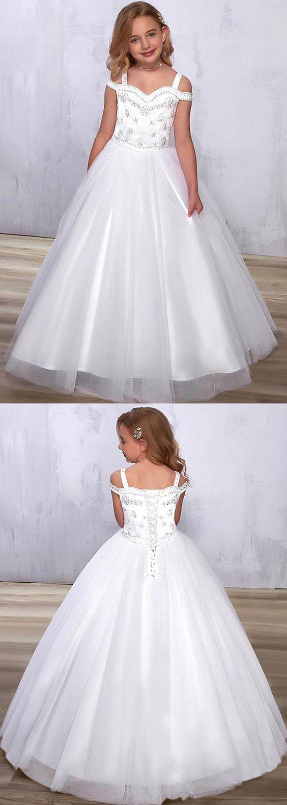 Stunning Tulle Sweetheart Neckline A-line Flower Girl Dress With Beadings