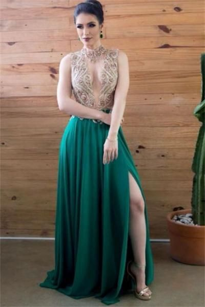 e6c1ad0f441af Elegant Long Green Beading Flory Front Split by PrettyLady on Zibbet