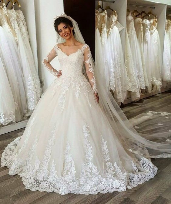 Long Sleeve Appliques Lace Ball Gown Wedding Dress, Elegant Formal Bridal Dress