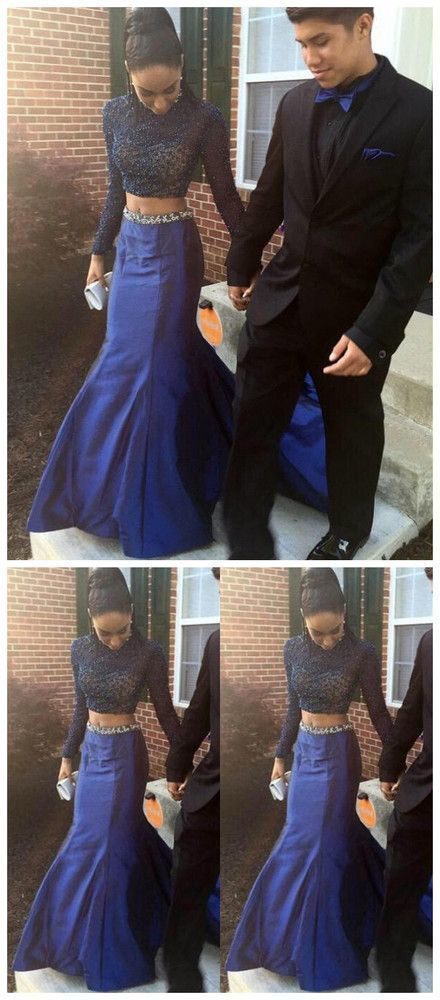 ce638f9402d39 Beautiful Two Piece Long Sleeves Navy Blue Crystal Prom Dress, Elegant Long