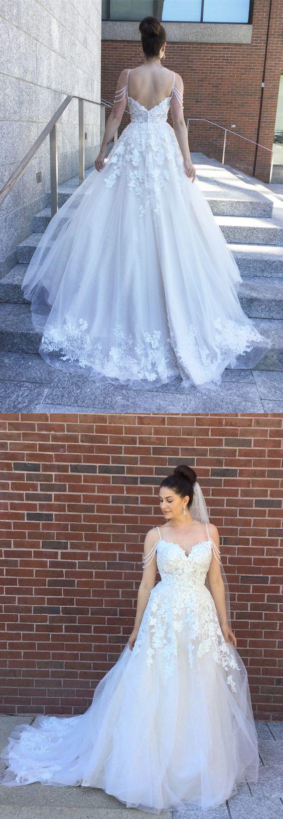 Sexy Appliques Spaghetti Straps Wedding Dresses