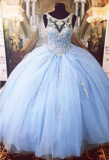 3dcb663740a Gergeous Crystal Beaded Light Blue Tulle Appliques Ball Gown Prom Dress