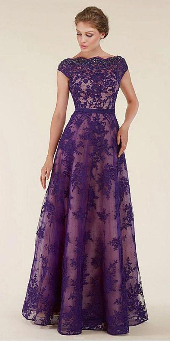Unique Lace & Tulle Bateau Neckline Backless A-line Mother Of The Bride Dresses
