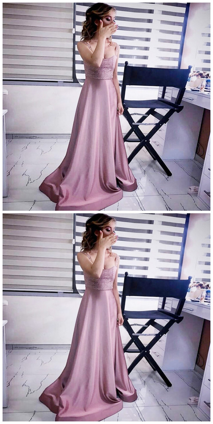A-Line Scoop Sweep Train Blush Satin Prom Dress with Sequin