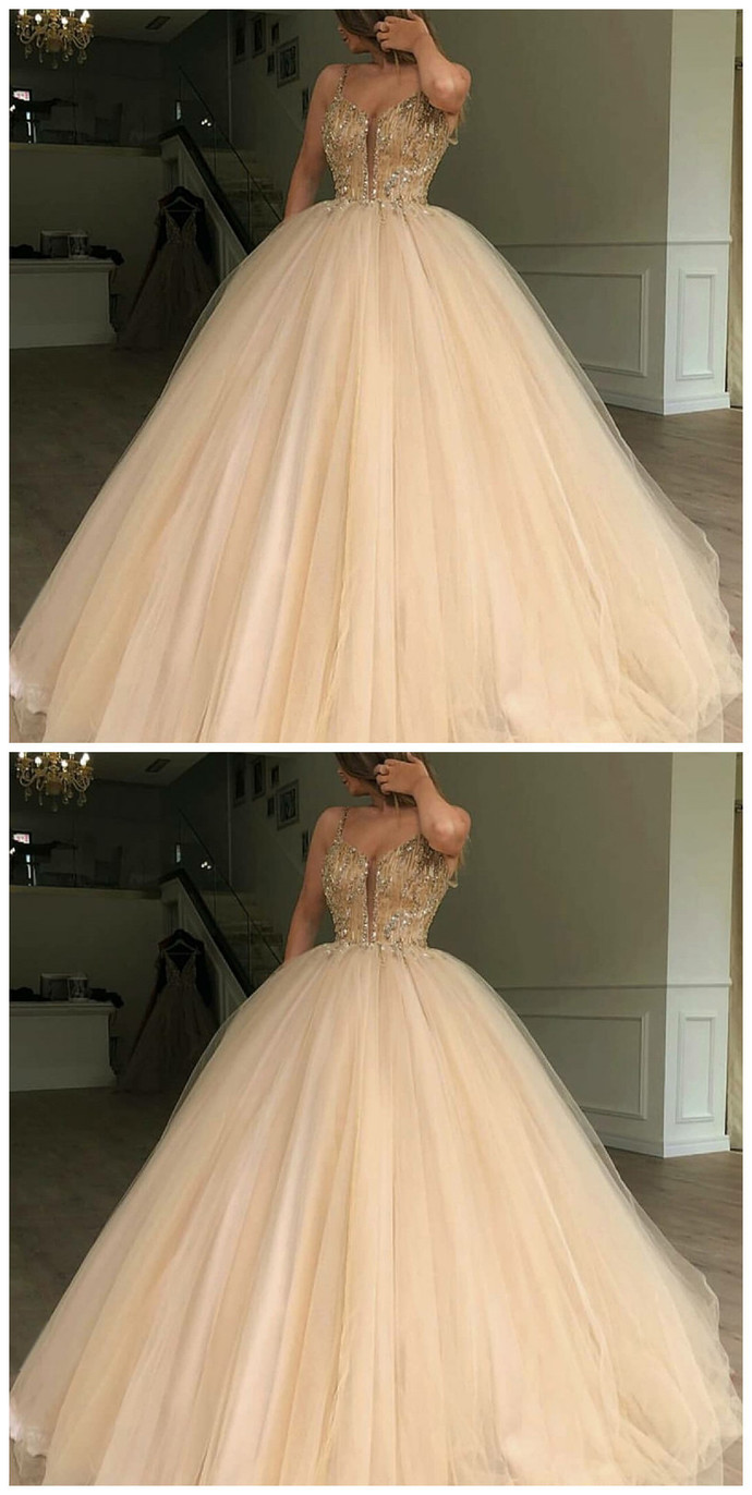 Spaghetti Straps Ball Gown Sweep Train Light Champagne Prom Dress with Beading