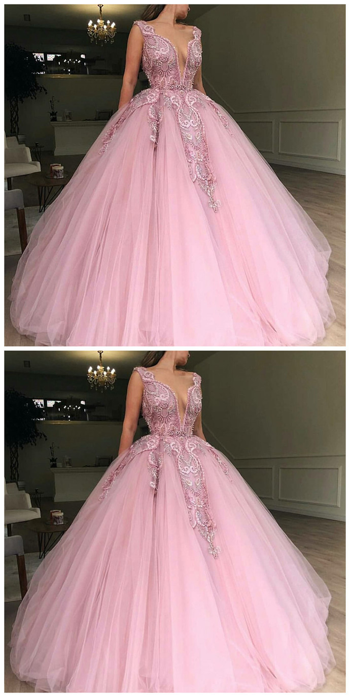 Ball Gown Deep V-Neck Sweep Train Lilac Beaded Prom Dress with Appliques