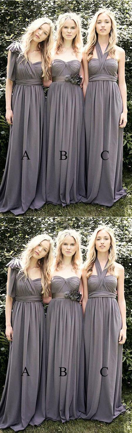 Cheap Multi Styles Long Grey Satin Bridesmaid Dress