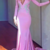 Newest Pink Long Sleeve Mermaid Evening Dresses Satin Appliques Beaded Sweep
