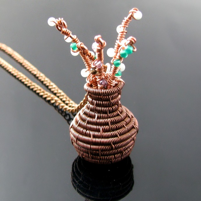 Blooming branches - wire woven vase pendant
