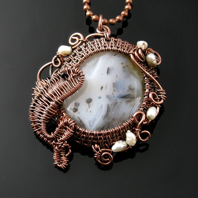 Wire woven jumping fish on agate pendant