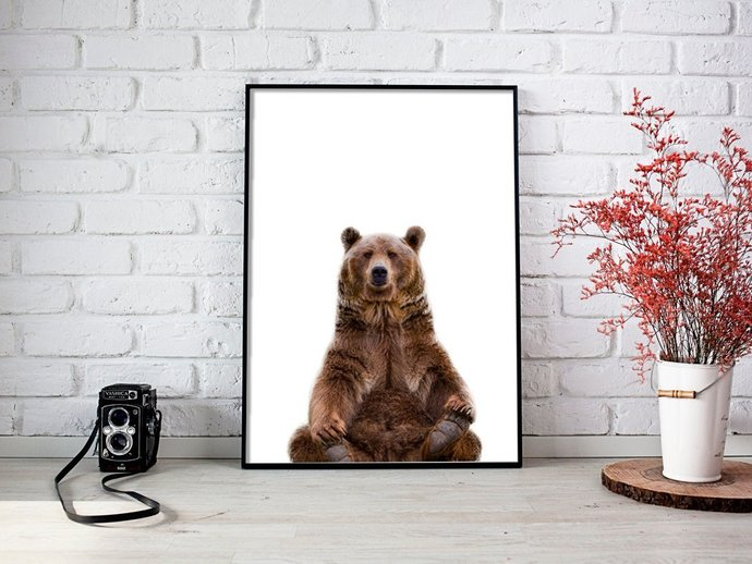 Digital Bear Print, Digital Printables Wall art poster, Digital Color Animal,
