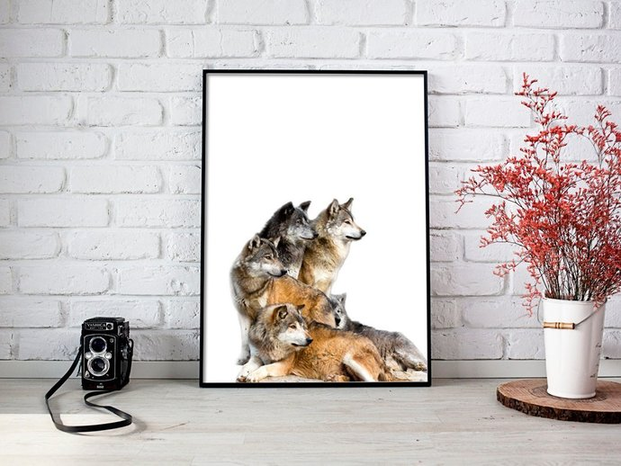 Digital Family of Wolfs Print, Digital Printables Wall art poster, Digital Color