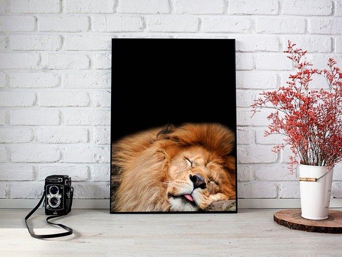 Digital Lion on black fon Print, Digital Printables Wall art prints, Digital